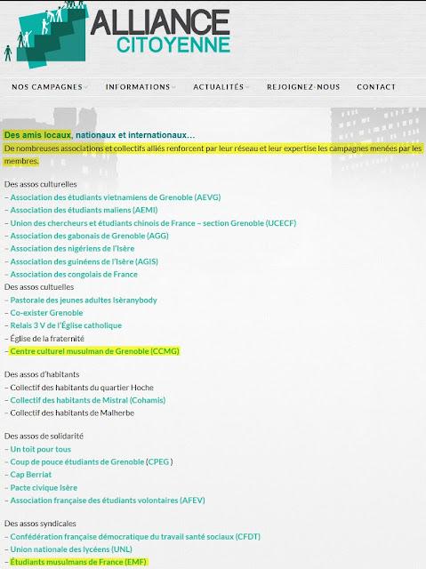 Les partenaires de l'Alliance citoyenne, dont des islamistes