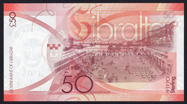 Gibraltar money currency 50 Pounds banknote 2010 Grand Casemates Square in Gibraltar