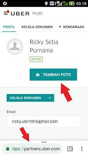 Mengubah foto profil Uber Driver Via Browser
