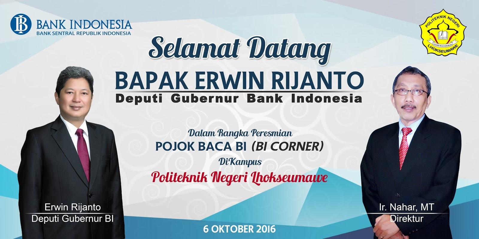 selamat datang bapak erwin rijanto di pojok baca bank indonesia kbm pnl. Black Bedroom Furniture Sets. Home Design Ideas