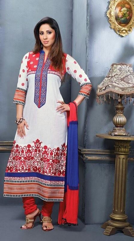 Sober #White #SalwarKameez For #Navratri Moksha Fashions