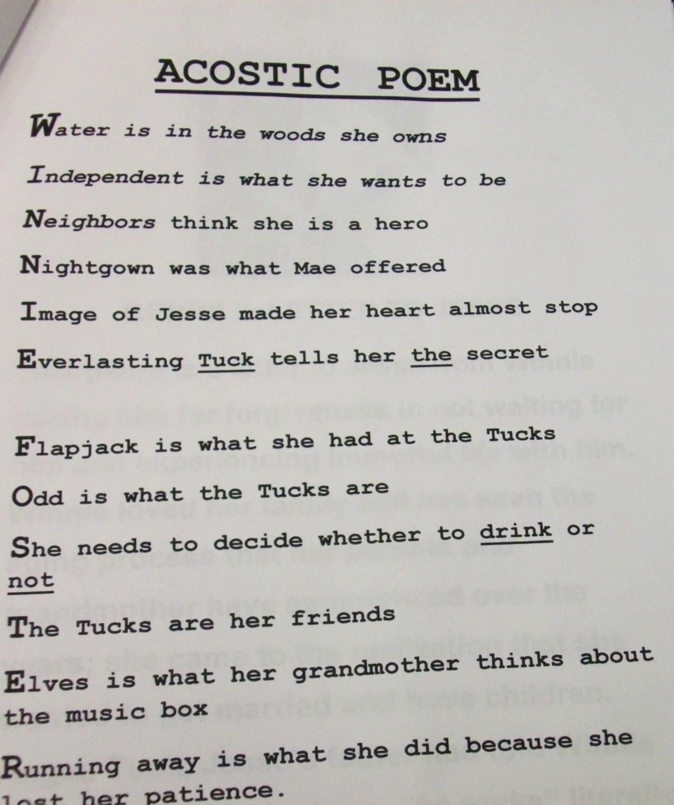 Acrostic Poem Examples High School