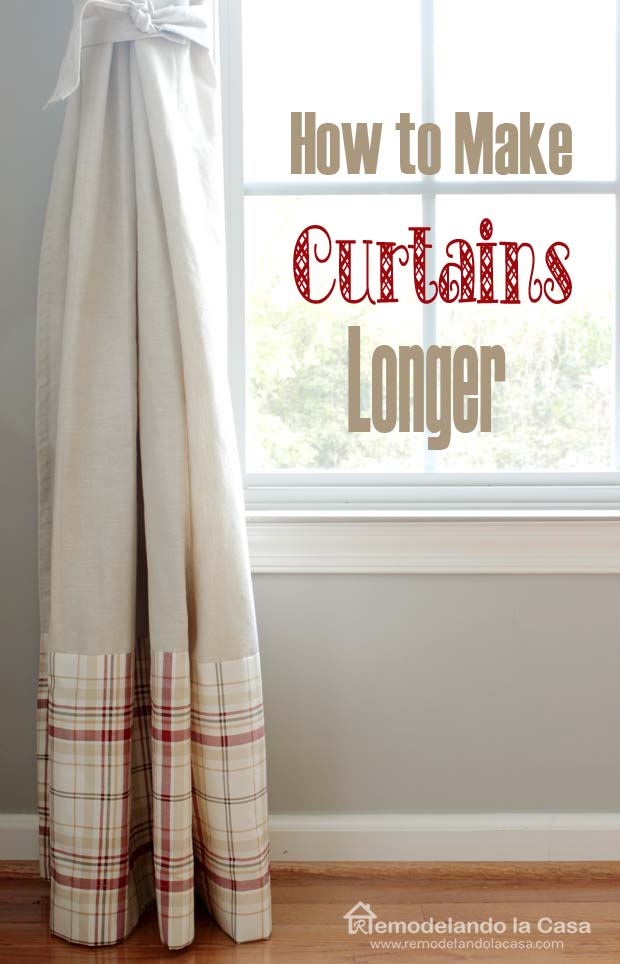 How to make curtains longer using flat twin sheet - plaid