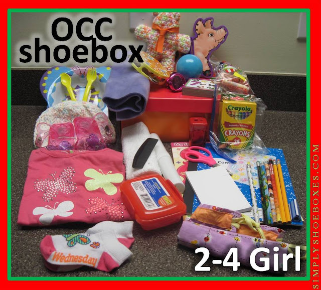 2 to 4 year old girl Operation Christmas Child shoebox.