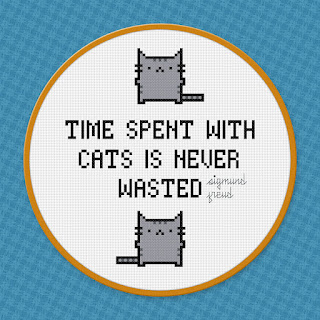 Time Spent With Cats - Sigmund Freud Quote - Cross Stitch PDF Pattern Download