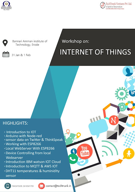 2 Days Workshop on Internet of Things at Bannari Amman Institute of Technology, Erode (Dec 31-Feb 01, 2017)