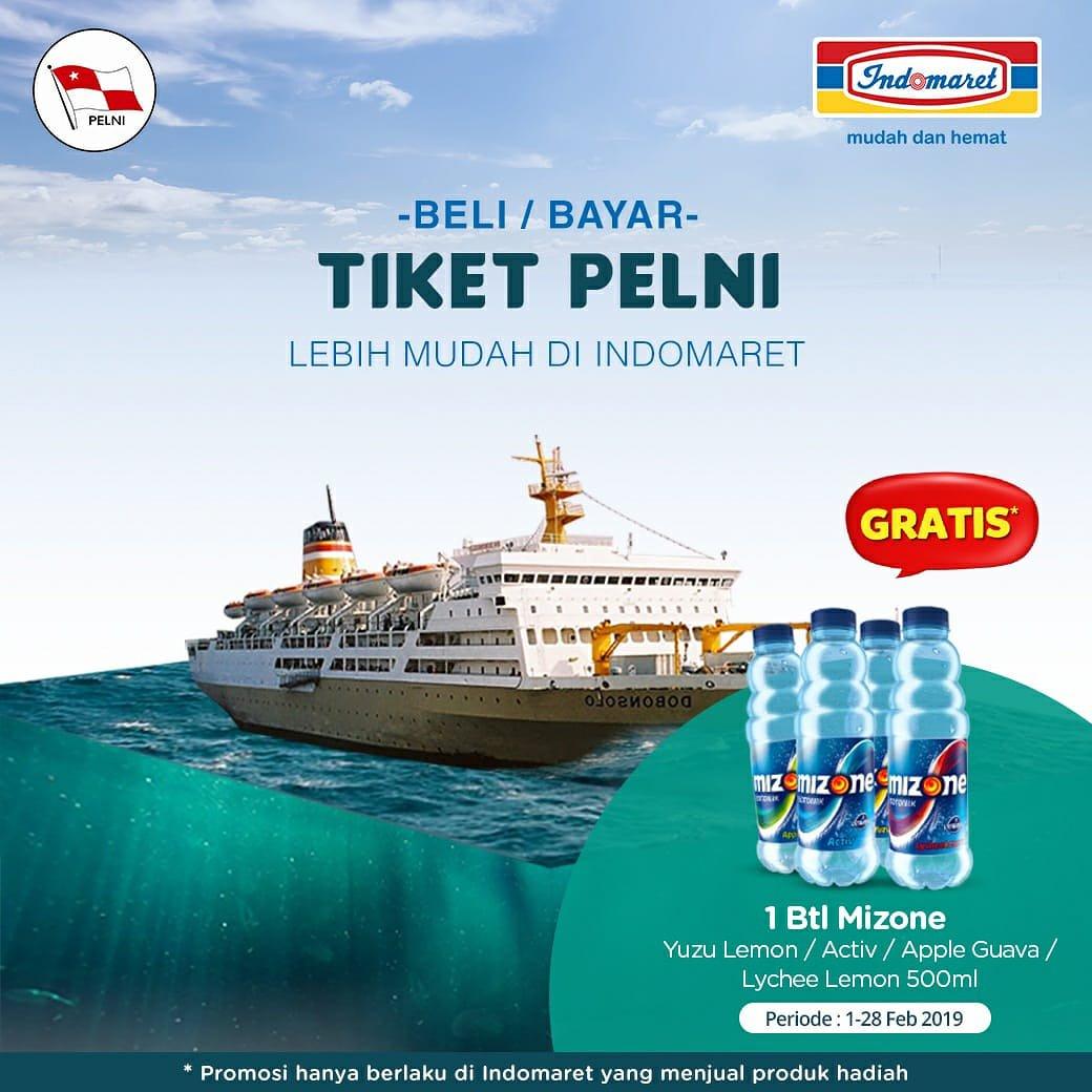 #Indomaret - #Promo Beli & Bayar Tiket PELNI Gratis 1 Btl Mizone (s.d 28 Feb 2019)