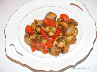 Ciuperci cu rosii cherry la tigaie retete culinare,