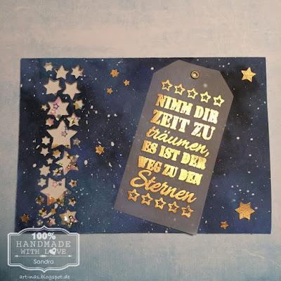 Shaker card mit der Stanzschablone Marianne Design Craftables Punch Die Stars und goldenem Embossing pulver von WOW
