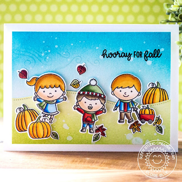 Sunny Studio Stamps: Fall Kiddos Happy Harvest Woodland Borders Hooray For Fall Card by Eloise Blue