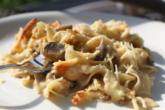 Mom's Italian Style Tuna Noodle Casserole dish with tuna and delicious sauce over noodles