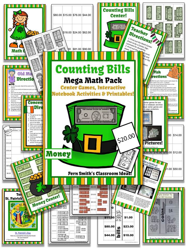 Fern Smith's St. Patrick's Day Counting Bills Mega Math Pack With a FREEBIE!