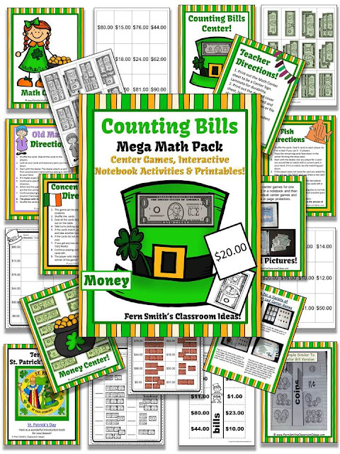 Fern Smith's Classroom Ideas Discounted Bundle St. Patrick's Day Counting Coins and Bills Mega Math Pack With Two FREEBIES!