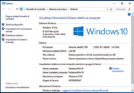 pannello di controllo Windows 10