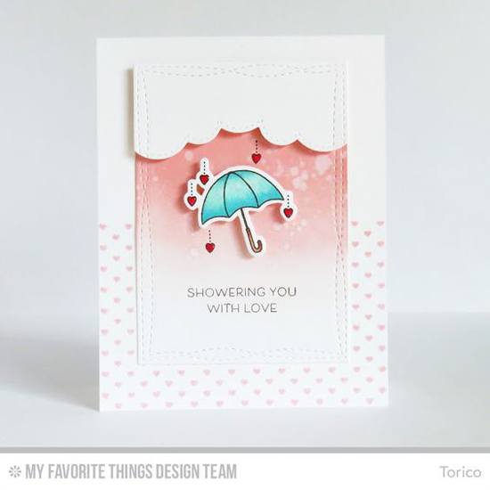 Umbrella Love Card by Torico featuring Mini Hearts Background stamp, the Lisa Johnson Designs All Heart stamp set and Die-namics, the Stitched Cloud Edges and Wonky Stitched Rectangle STAX Die-namics #mftstamps