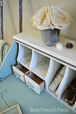 Coastal style casual desk makeover