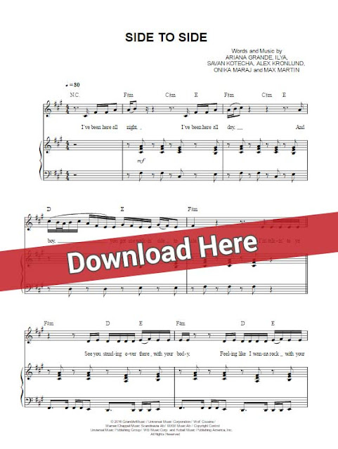 ariana grande, side to side, nicki minaj, sheet music, piano notes, chords, download, keyboard, guitar, klavier noten, tutorial, lesson, cover