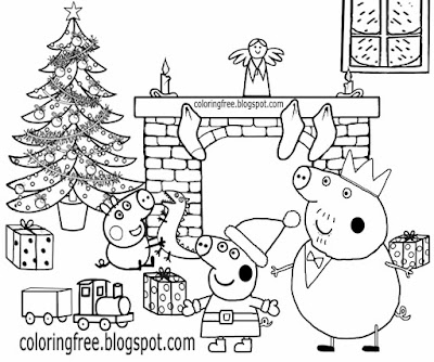 Fun things to draw cartoon Merry Christmas drawings Peppa pig coloring pages to print for teenagers