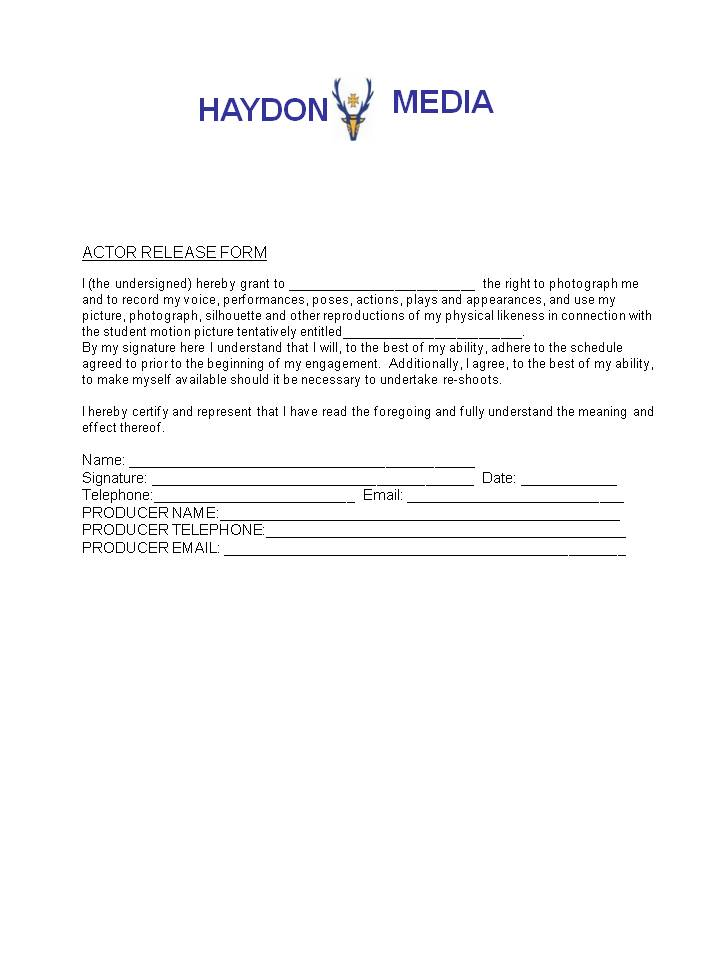 Actor Release Form actor release form release form download free - actor release forms
