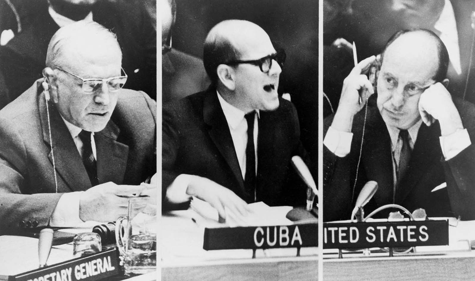 A composite image of three photograph taken on October 23, 1962, during a United Nations Security Council meeting on the Cuban Missile Crisis. From left, Soviet foreign deputy minister Valerian A. Zorin; Cuba's Permanent Representative to the United Nations, Mario Garcia-Inchaustegui; and U.S. Ambassador Adlai Stevenson.