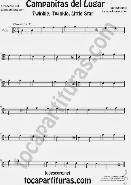 Partitura de Campanitas del Lugar para Viola Villancico Christmas Carol Song Twinkle twinkle little Sheet Music for Viola Music Scores