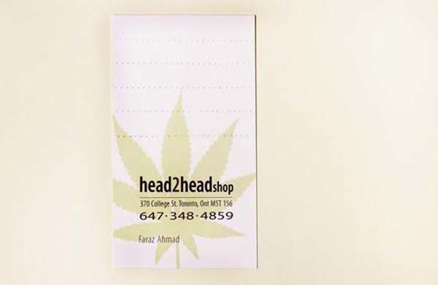 Danh thiếp của cửa hàng bán thuốc lá head2head, mỗi danh thiếp bạn có thể gấp được 5 đầu lọc thuốc