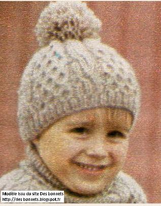 d37a0f41b30a6 Bonnet enfant tricoté au point d'alvéoles. >
