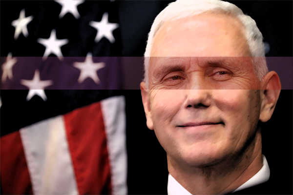 graphically enhanced image of Mike Pence, highlighting his eyes