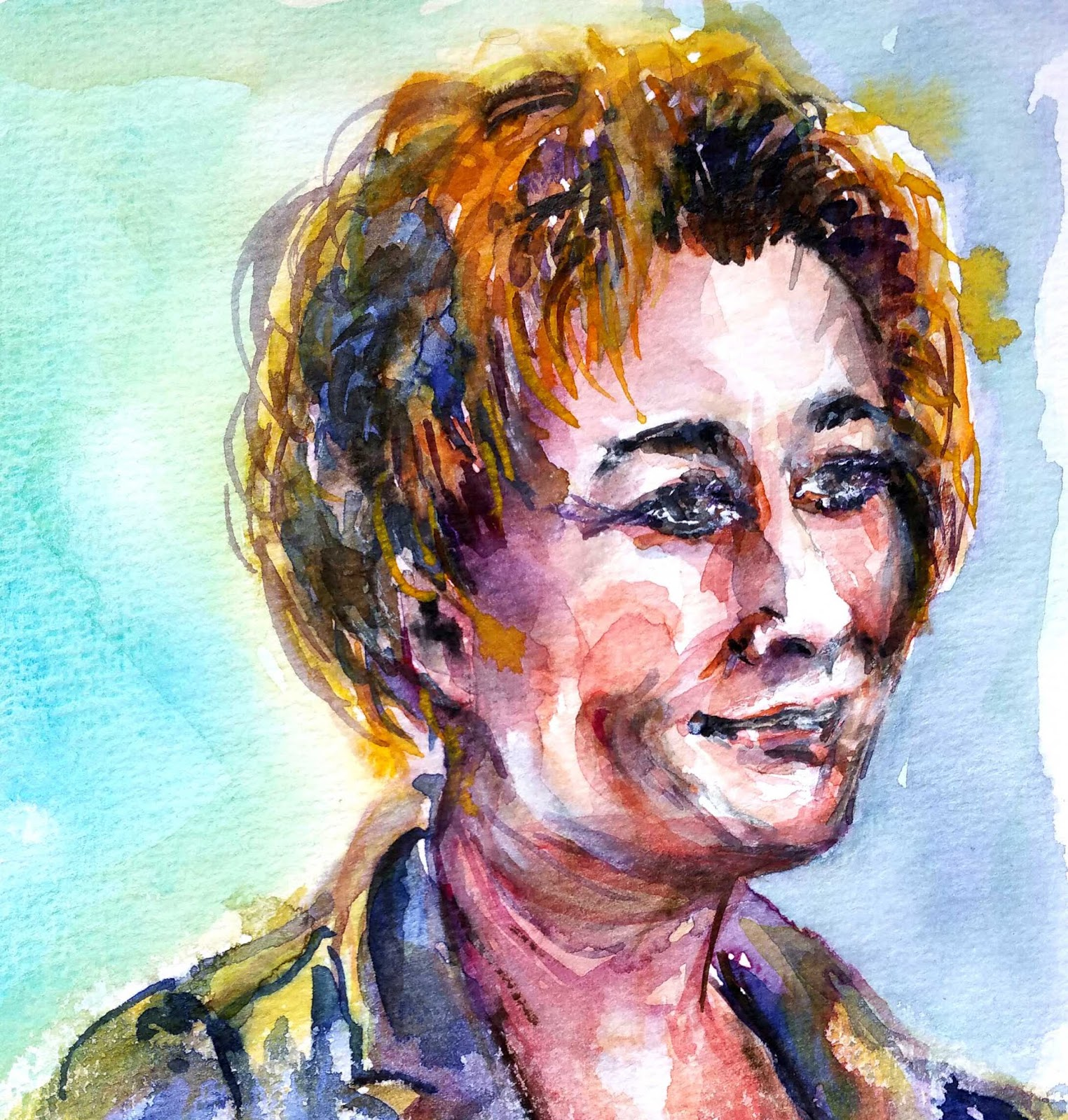 Bettina Malt Portrait In Direct Watercolour Die Frisur Sitzt