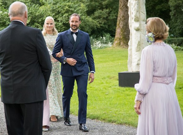 Crown Princess Mette-Marit wore Sandra Mansour Hand Embroidered Dress. Princess Märtha Louise and Princess Astrid, Mrs Ferner