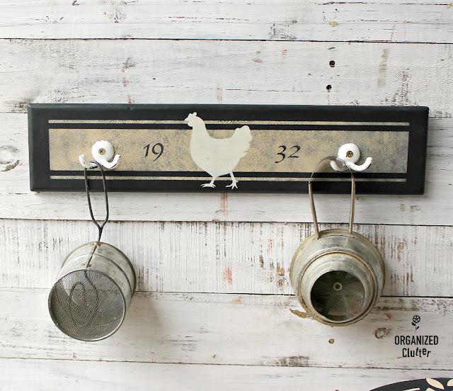 Drawer Front Farmshouse Stenciled Wall Hook Board #oldsignstencils