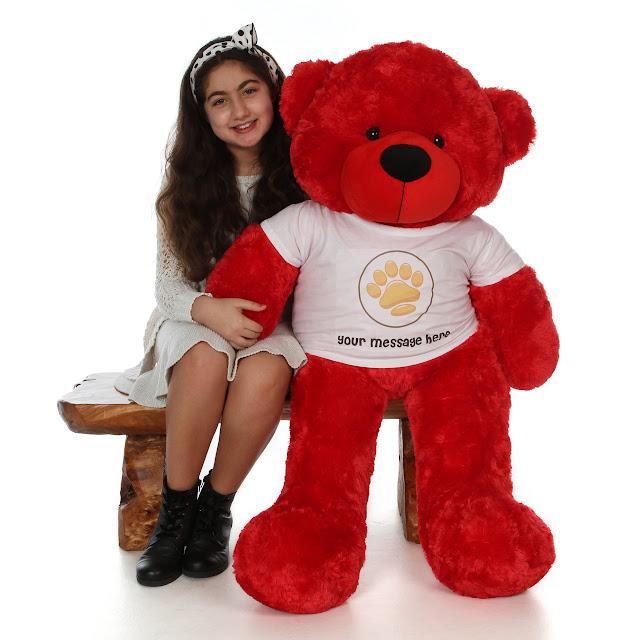 4ft Bitsy Cuddles red teddy bear