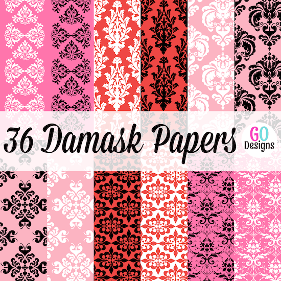 New Valentine paper packs! 36 beautiful damask papers in red, pink, black and white. Lots of variety and great prices!