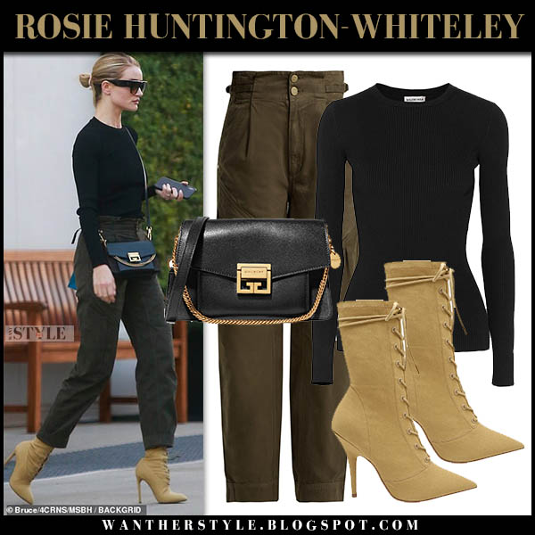 Rosie Huntington-Whiteley in black top, khaki green pants and beige yeezy boots model street style october 29