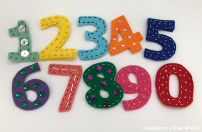Hand embroidered felt numbers toy for children