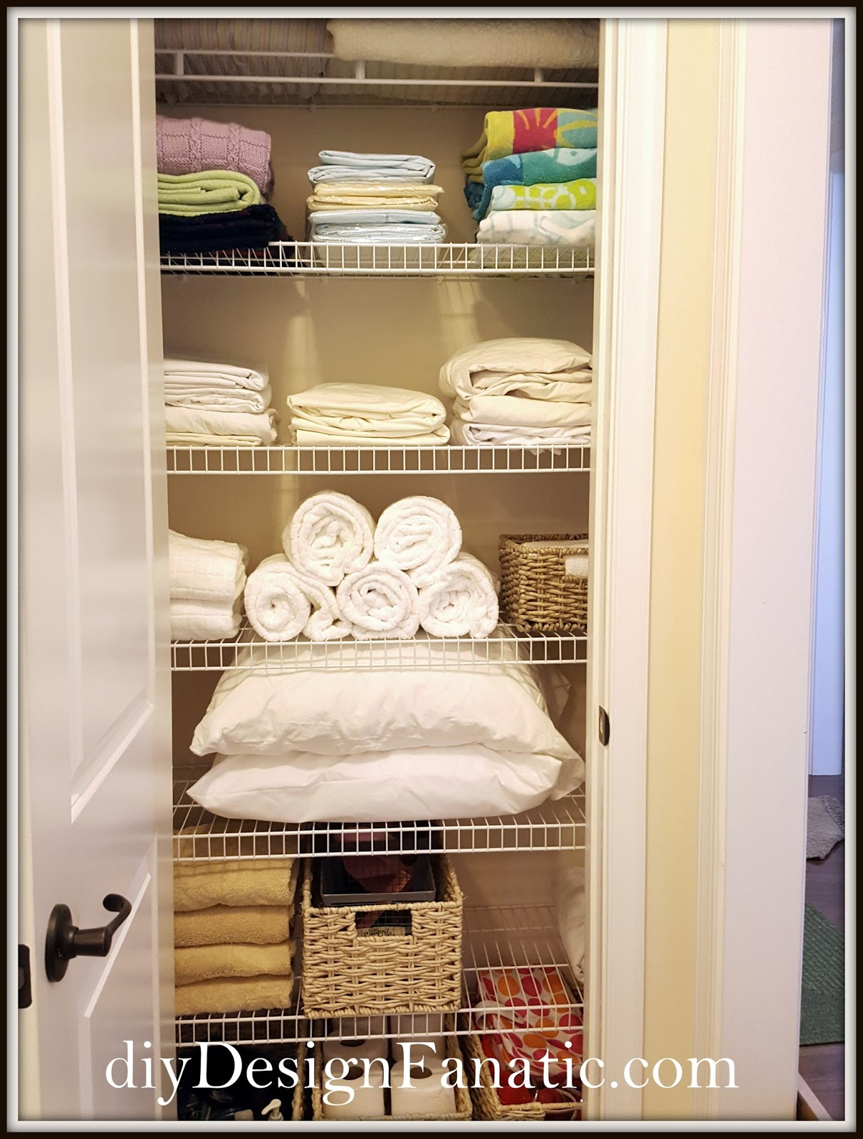 Diy Linen Closet And One Shelf At The Bottom