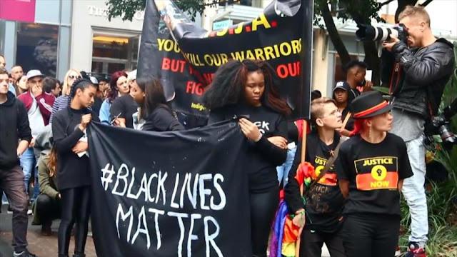Australianos protestan contra brutalidad policial estadounidense