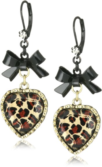 Betsey Johnson Crystal Leopard Heart and Black Bow Drop ...