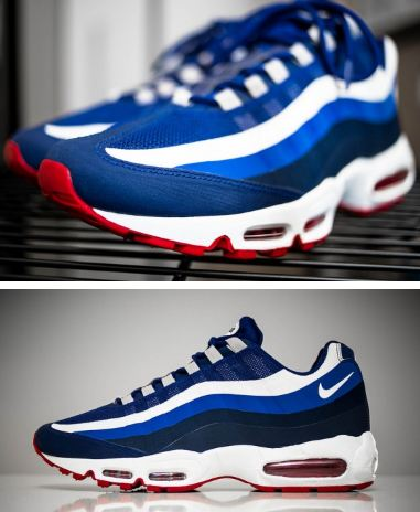 """competitive price 6ea2c 39b71 Here is a detailed look at the NFL x Nike Air Max 95 No-Sew """"New York  Giants"""" Sneaker, these are real clean right here! Peep a gang of more  images after the ..."""