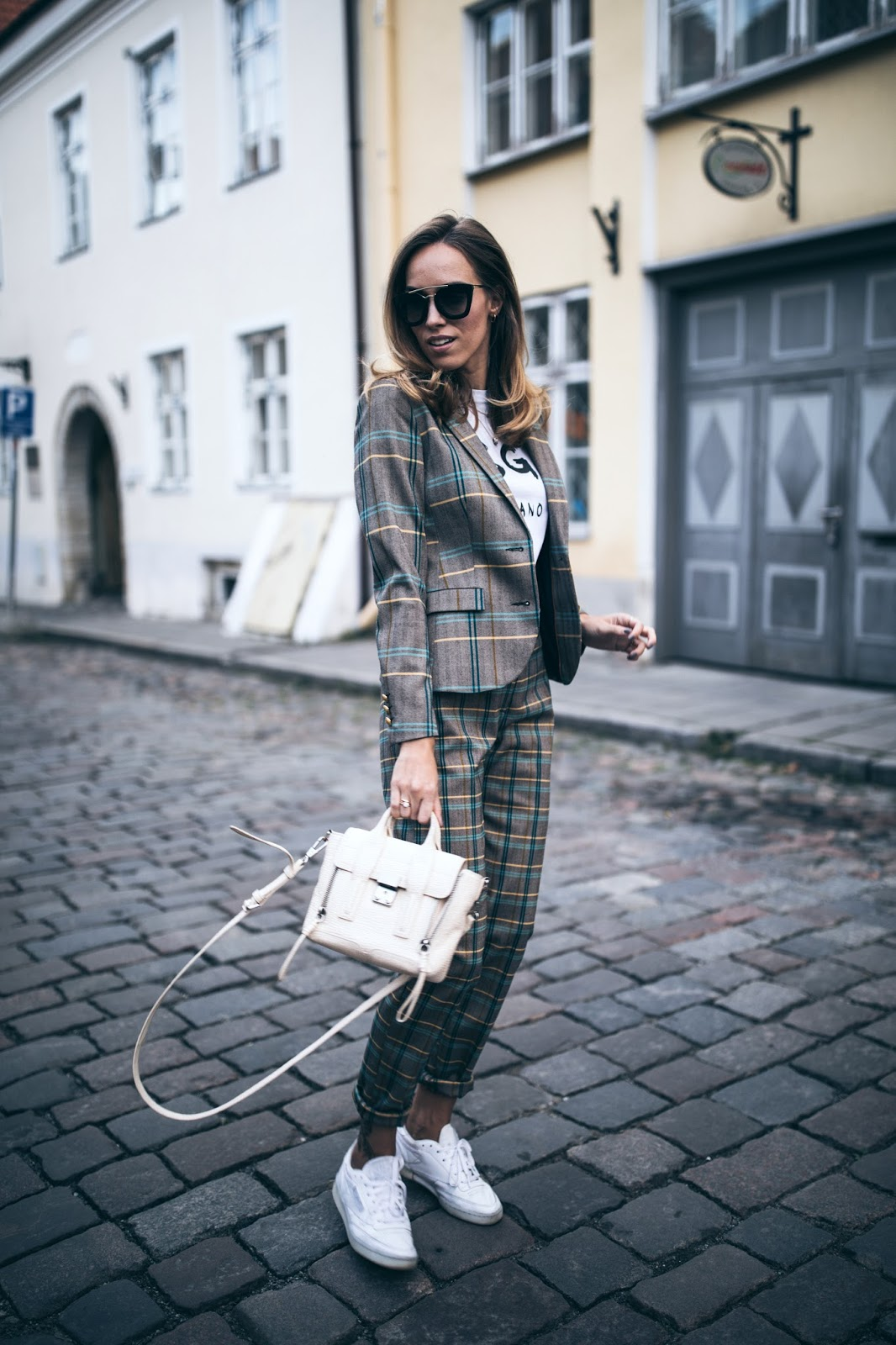 check print suit street style fall