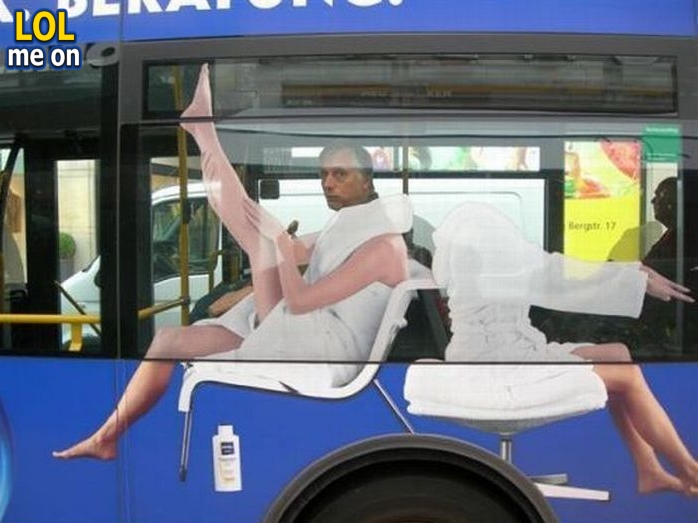 """funny perfectly timed picture shows a bus ad from """"LOL me on"""""""
