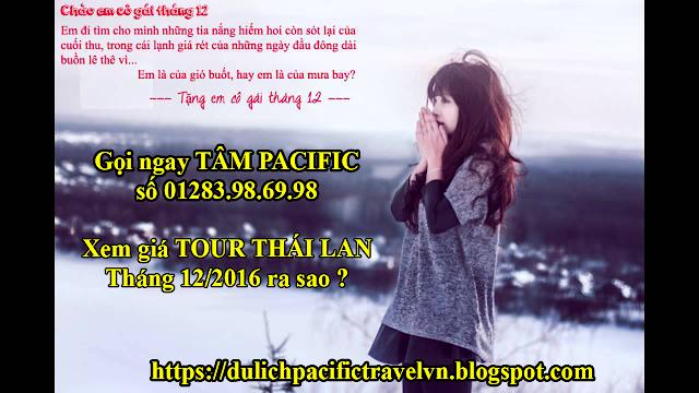 giá tour Thái Lan đầu tháng 12/2016 giá 4500000 VNĐ