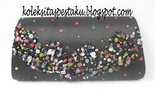 Dompet Tas Pesta Clutch Handmade Hitam Mix Payet Aksesoris Warna Warni