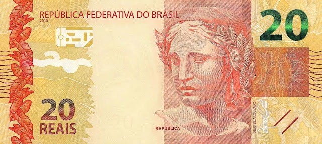 Brazilian Currency 20 Reals banknote 2010 Effigy of the Republic