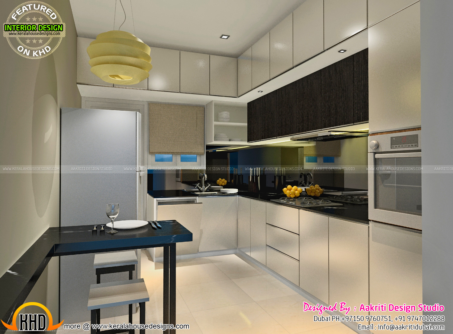 Dining kitchen wash area interior kerala home design for 1 room kitchen interior design