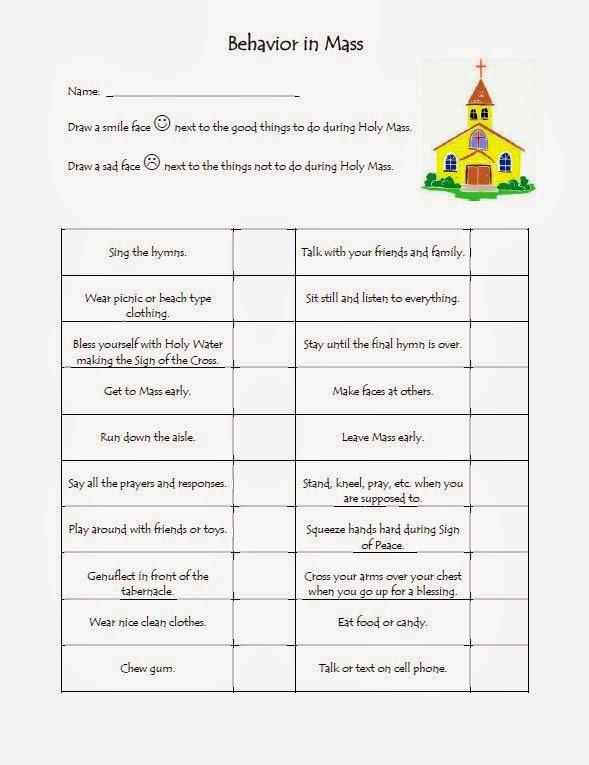The Catholic Toolbox Behavior In Mass Worksheet