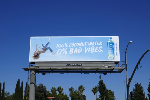 Zico Coconut Water zero Bad Vibes billboard