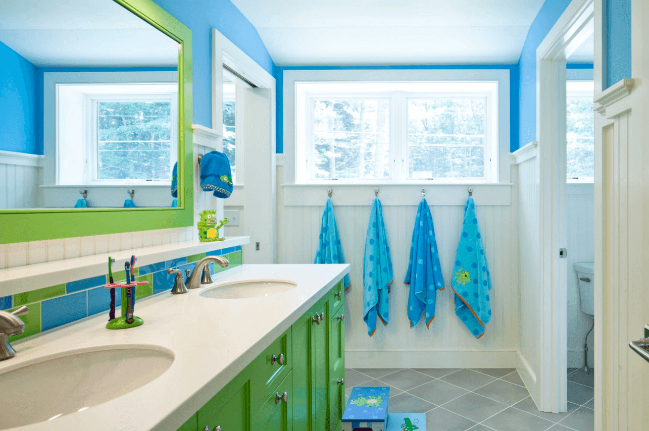 Ways To Add Color Into Your Bathroom Design IHome Ideas - Blue patterned towels for small bathroom ideas