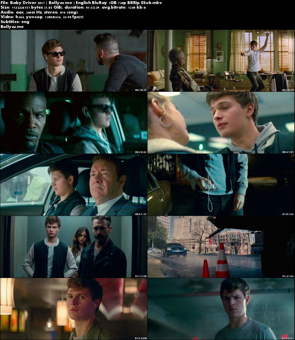Baby Driver 2017 BluRay 1GB Full English Movie Download 720p ESub