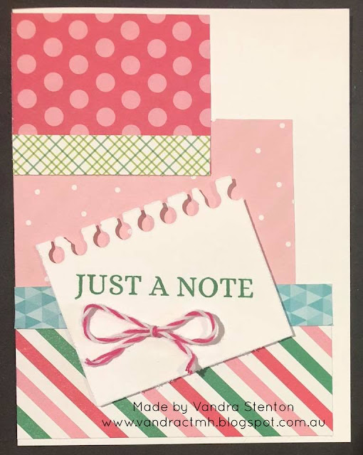 #CTMHVandra, #ctmhOhWhatFun, TicTacToe, Colour Dare Challenge, color dare, Stamp of the Month, just a note, thin cuts, scraps, bows,